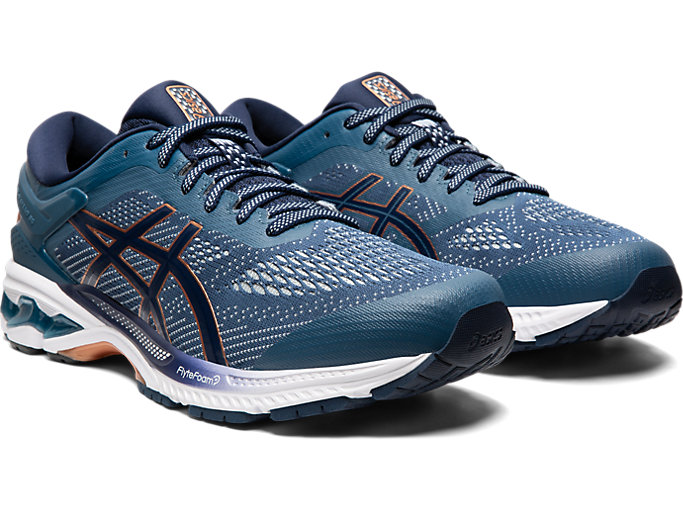 Front Right view of GEL-KAYANO 26, GRAND SHARK/PEACOAT