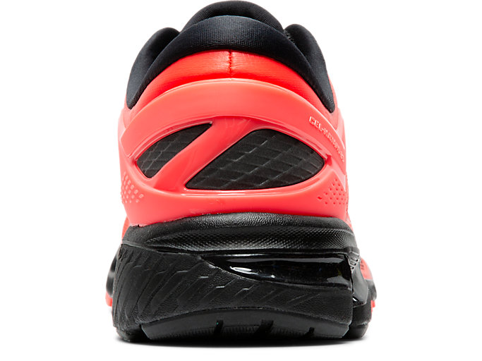 Back view of GEL-KAYANO 26, FLASH CORAL/BLACK