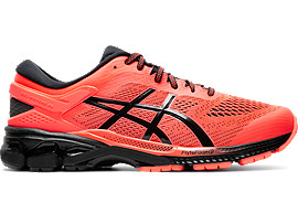 Right side view of GEL-KAYANO 26, FLASH CORAL/BLACK