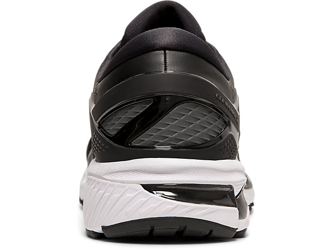 Back view of GEL-KAYANO™ 26, BLACK/WHITE