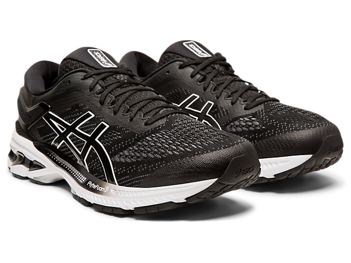 Front Right view of GEL-KAYANO™ 26, BLACK/WHITE
