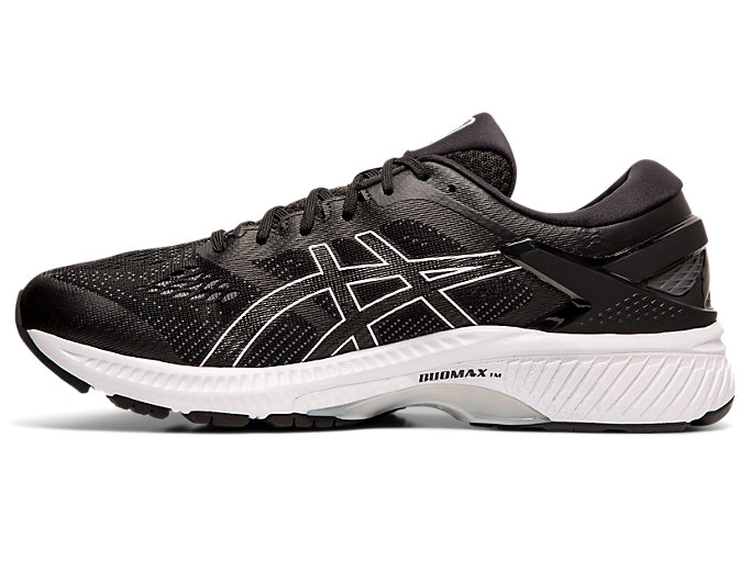 Left side view of GEL-KAYANO™ 26, BLACK/WHITE
