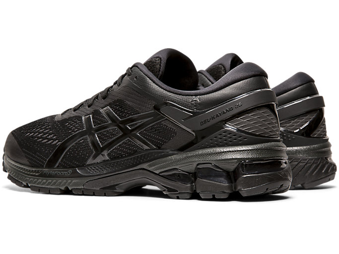 Front Left view of GEL-KAYANO™ 26, BLACK/BLACK