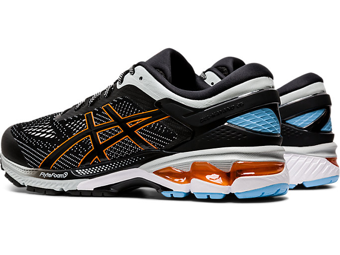Front Left view of GEL-KAYANO 26, BLACK/POLAR SHADE