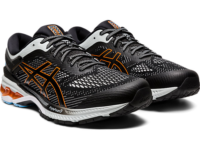 Front Right view of GEL-KAYANO 26, BLACK/POLAR SHADE