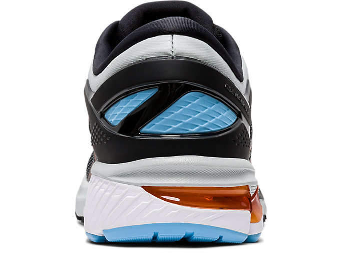 Back view of GEL-KAYANO 26, BLACK/POLAR SHADE