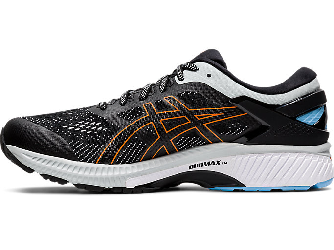 Left side view of GEL-KAYANO 26, BLACK/POLAR SHADE