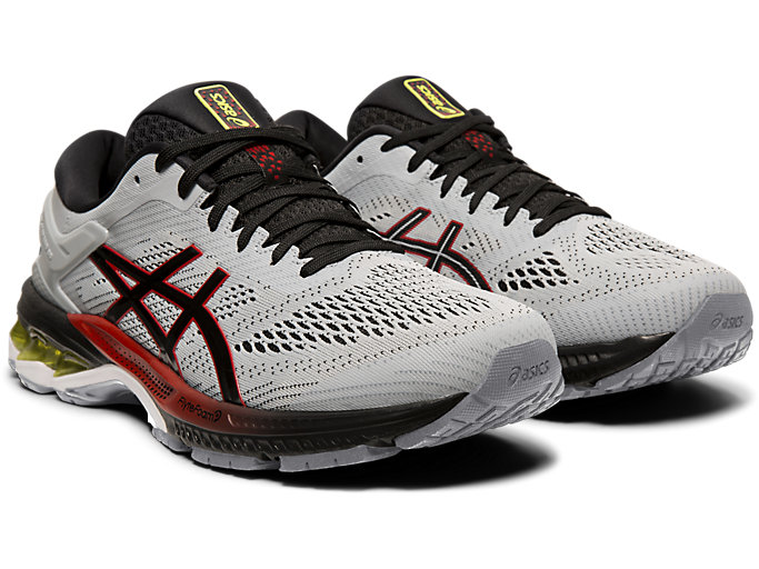 Front Right view of GEL-KAYANO™ 26, PIEDMONT GREY/BLACK