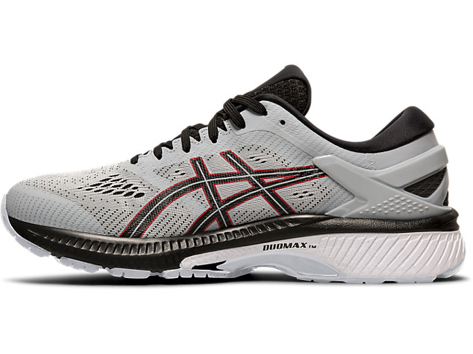 Left side view of GEL-KAYANO™ 26, PIEDMONT GREY/BLACK