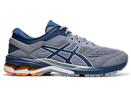 Right side view of GEL-KAYANO 26, SHEET ROCK/MAKO BLUE