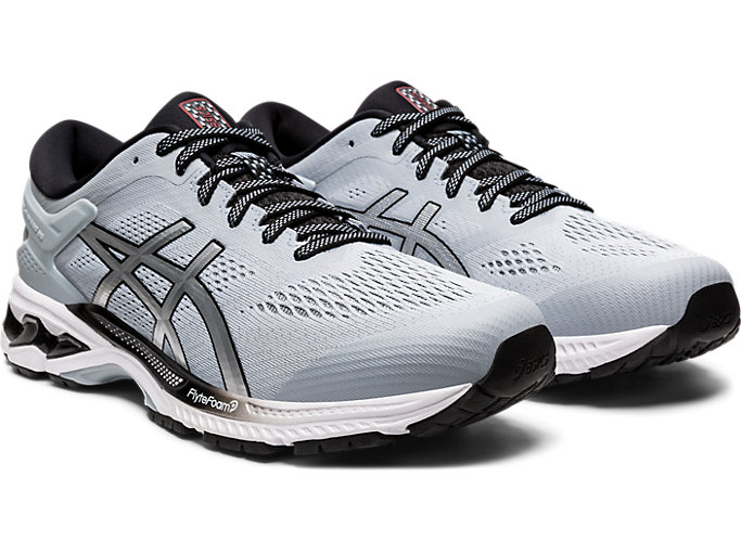 Front Right view of GEL-KAYANO 26, PIEDMONT GREY/PURE SILVER