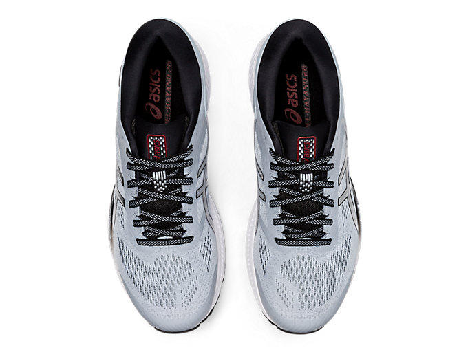 Top view of GEL-KAYANO 26, PIEDMONT GREY/PURE SILVER