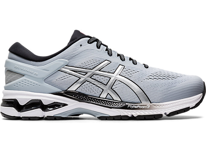 Right side view of GEL-KAYANO 26, PIEDMONT GREY/PURE SILVER