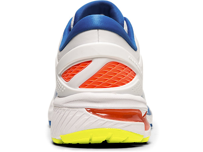 Back view of GEL-KAYANO™ 26, WHITE/LAKE DRIVE