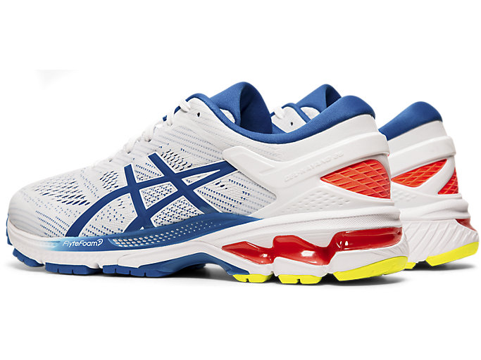 Front Left view of GEL-KAYANO™ 26, WHITE/LAKE DRIVE