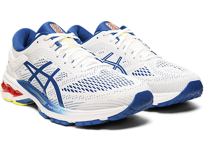 Front Right view of GEL-KAYANO™ 26, WHITE/LAKE DRIVE