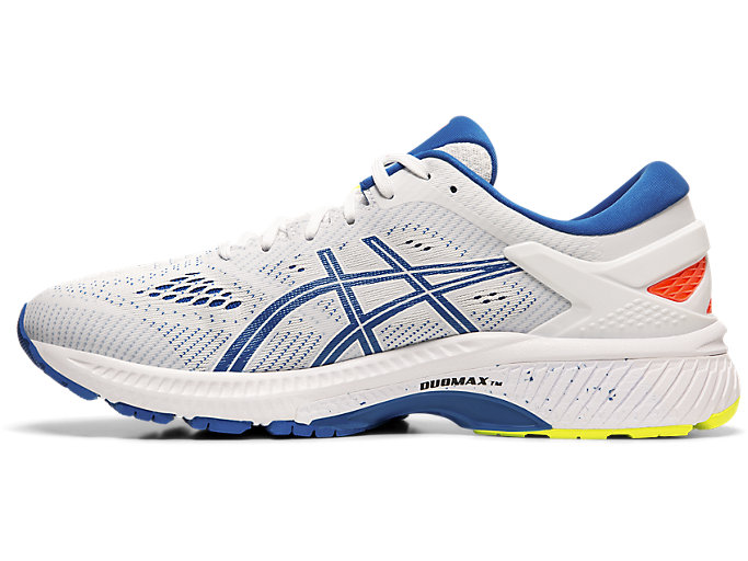 Left side view of GEL-KAYANO™ 26, WHITE/LAKE DRIVE