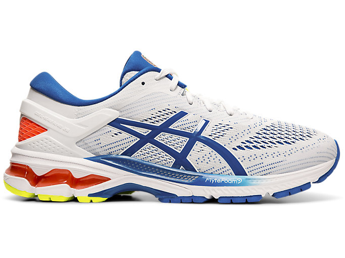Right side view of GEL-KAYANO 26, WHITE/LAKE DRIVE