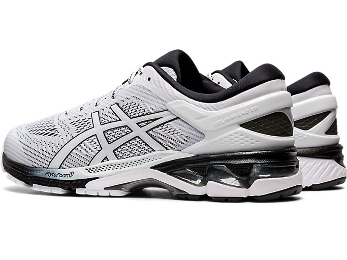 Front Left view of GEL-KAYANO 26, WHITE/BLACK