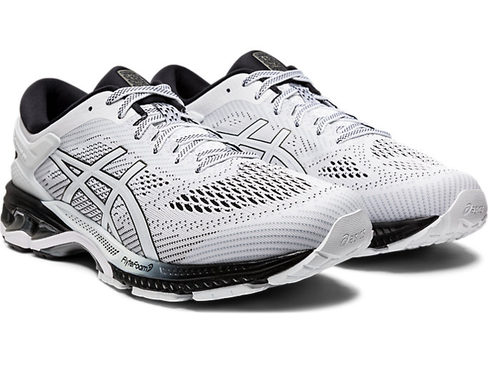 Front Right view of GEL-KAYANO™ 26, WHITE/BLACK