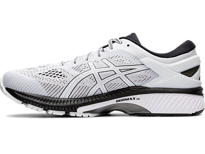 Left side view of GEL-KAYANO 26, WHITE/BLACK