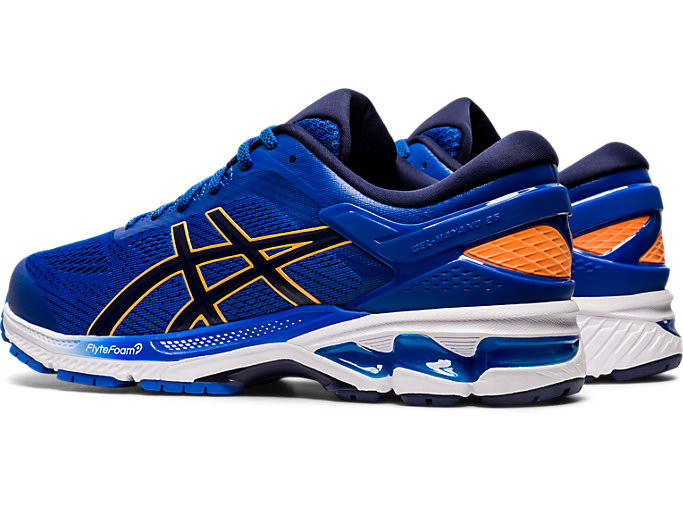 Front Left view of GEL-KAYANO 26, TUNA BLUE/PEACOAT