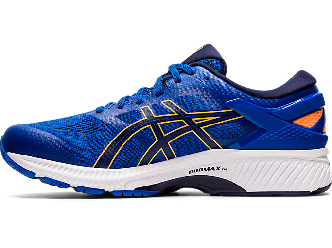 Left side view of GEL-KAYANO™ 26, TUNA BLUE/PEACOAT