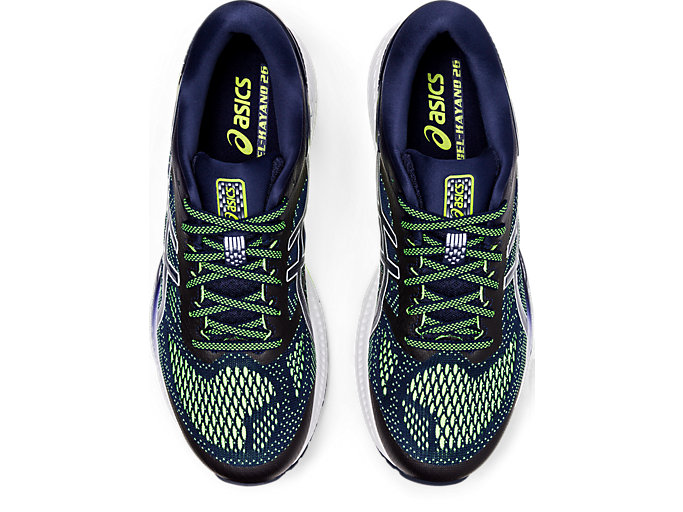 Top view of GEL-KAYANO™ 26, PEACOAT/SAFETY YELLOW