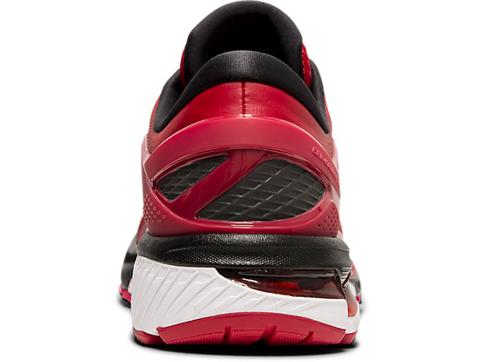 Back view of GEL-KAYANO™ 26, SPEED RED/BLACK
