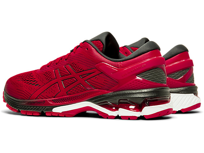 Front Left view of GEL-KAYANO™ 26, SPEED RED/BLACK