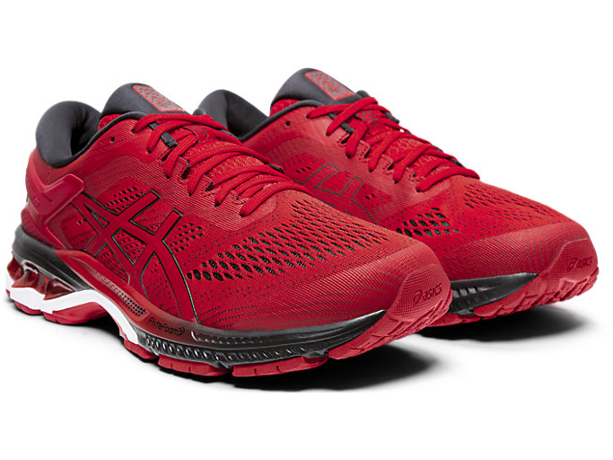 Front Right view of GEL-KAYANO™ 26, SPEED RED/BLACK