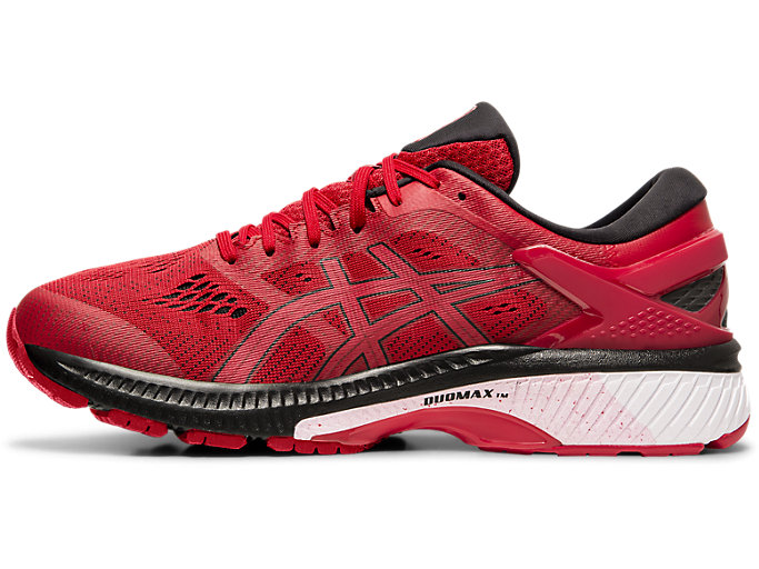 Left side view of GEL-KAYANO™ 26, SPEED RED/BLACK