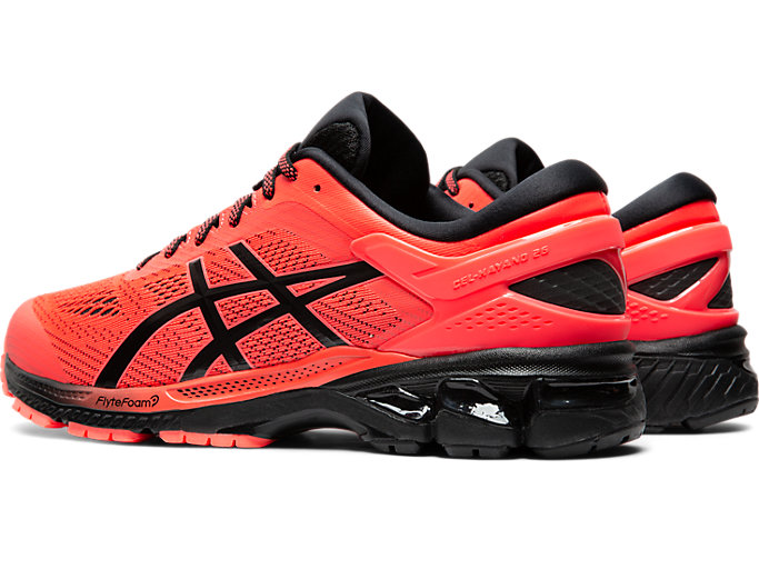 Front Left view of GEL-KAYANO 26, FLASH CORAL/BLACK