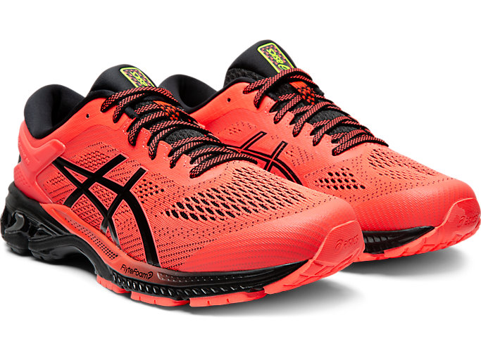 Front Right view of GEL-KAYANO 26, FLASH CORAL/BLACK
