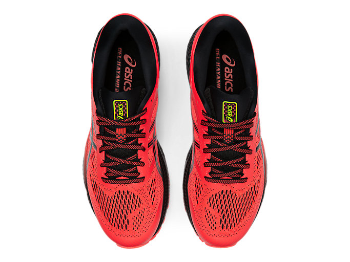 Top view of GEL-KAYANO 26, FLASH CORAL/BLACK