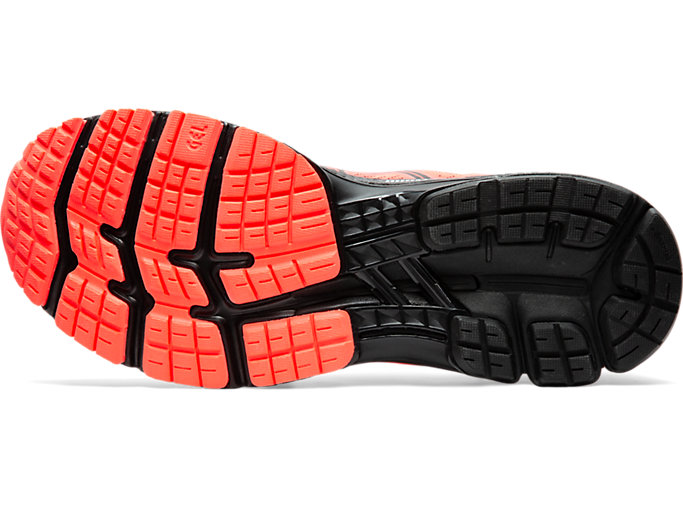 Bottom view of GEL-KAYANO 26, FLASH CORAL/BLACK