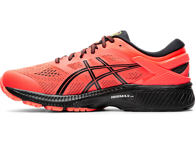 Left side view of GEL-KAYANO 26, FLASH CORAL/BLACK