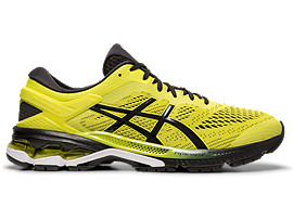 Right side view of GEL-KAYANO 26, SOUR YUZU/BLACK