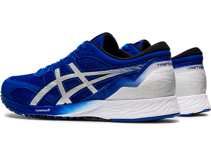 Front Left view of TARTHEREDGE, ASICS BLUE/PURE SILVER