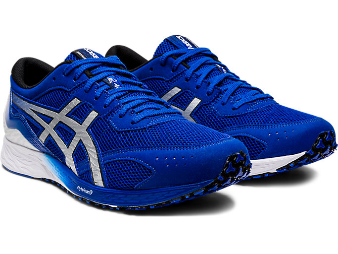 Front Right view of TARTHEREDGE, ASICS BLUE/PURE SILVER