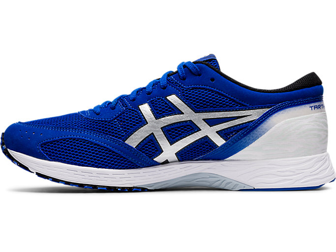 Left side view of TARTHEREDGE, ASICS BLUE/PURE SILVER