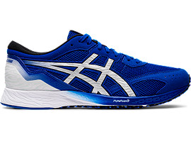 Right side view of TARTHEREDGE, ASICS BLUE/PURE SILVER