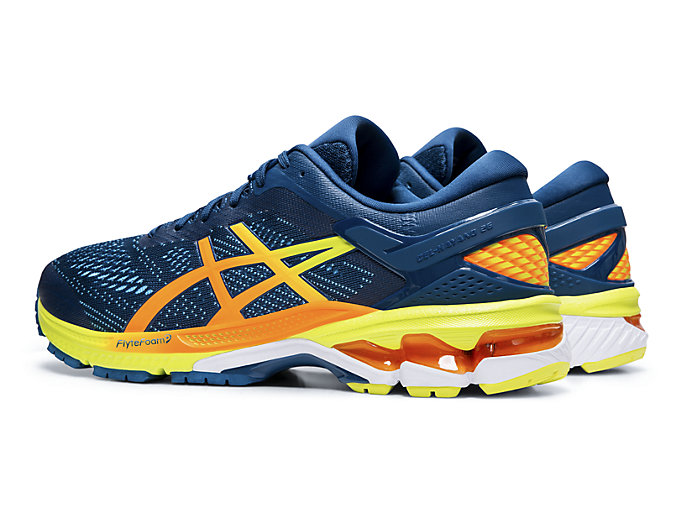 Front Left view of GEL-KAYANO™ 26, MAKO BLUE/SOUR YUZU