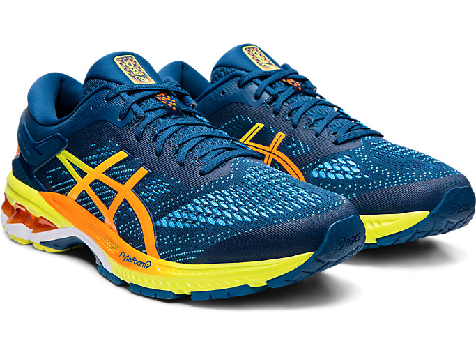 Front Right view of GEL-KAYANO™ 26, MAKO BLUE/SOUR YUZU