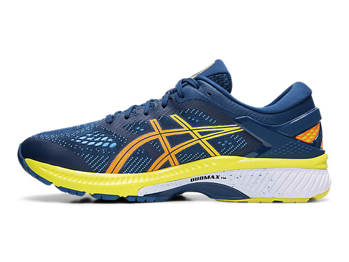 Left side view of GEL-KAYANO™ 26, MAKO BLUE/SOUR YUZU