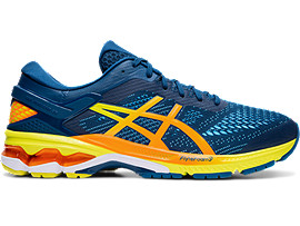 Right side view of GEL-KAYANO™ 26, MAKO BLUE/SOUR YUZU