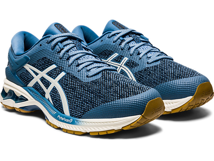Front Right view of GEL-KAYANO 26 MX, GREY FLOSS/CREAM
