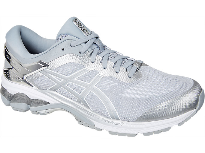 Front Right view of GEL-KAYANO™ 26 PLATINUM, PIEDMONT GREY/SILVER