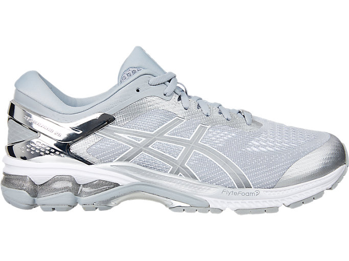 Right side view of GEL-KAYANO™ 26 PLATINUM, PIEDMONT GREY/SILVER