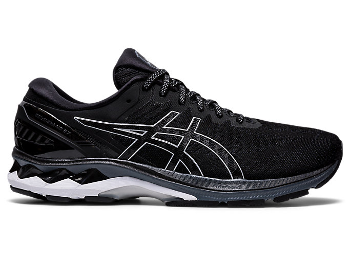 Right side view of GEL-KAYANO 27, BLACK/PURE SILVER
